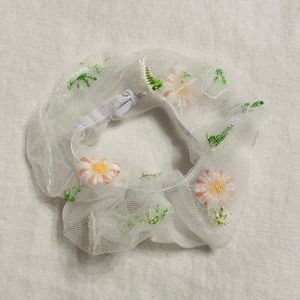 Chic Embroidered Floral Scrunchie